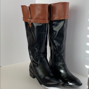 Women Calf High Boots Dark Brown/Tan Size 7